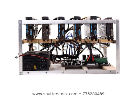 Mining farm isolated. Home Mining rig GPU. Crypto currency at ho Stock photo © popaukropa