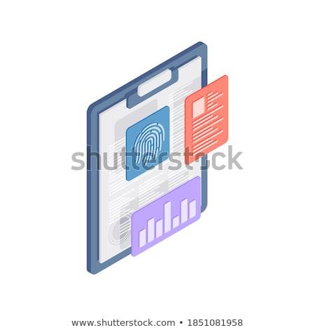 Stock fotó: Adatbiztonság · vágólap · 3D · irodai · asztal · irodaszerek · renderelt · kép