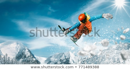 Snowboarder jumping aria sport montagna inverno Foto d'archivio © IS2