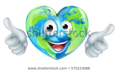 Cartoon wereld hart karakter Stockfoto © Krisdog