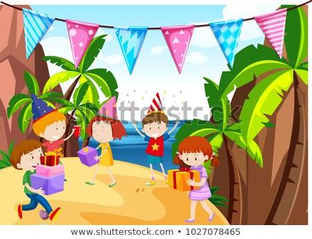 gyerekek · buli · kép · mosoly · gyermek · terv - stock fotó © bluering