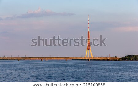 Riga radyo tv kule Letonya mavi Stok fotoğraf © benkrut