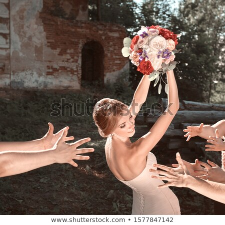 novia · ramo · ilustración · mujer · matrimonio - foto stock © is2