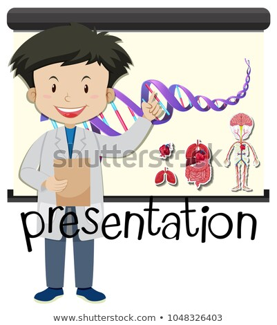Boy presenting human anatomy on board Stock photo © bluering