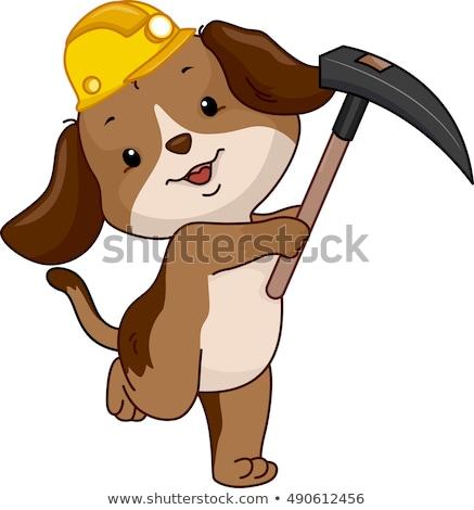 Köpek maskot çapa örnek sevimli sarı Stok fotoğraf © lenm