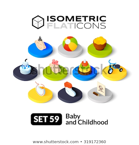 Bootees isometric icon, isolated on color background Stock photo © sidmay
