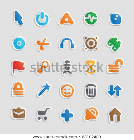Computer monitor with add plus button. Vector illustration isolated on modern background. stock photo © kyryloff