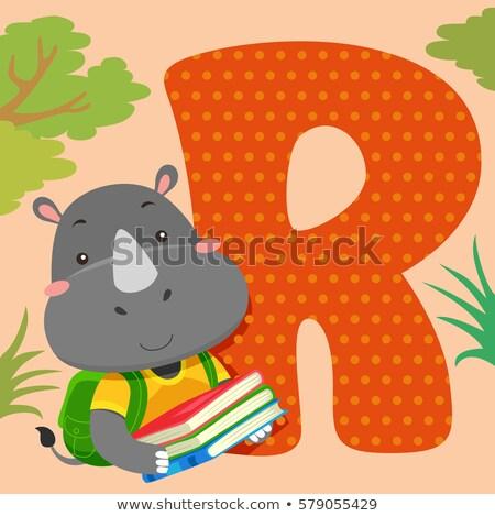 Alfabet Płytka nosorożec książek ilustracja czytania Zdjęcia stock © lenm