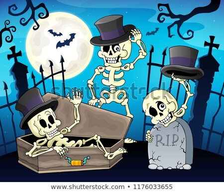 Skeletons near cemetery gate Stock photo © clairev
