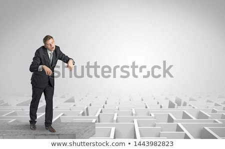 Sleepy businessman on the top of a labyrinth Stock photo © ra2studio