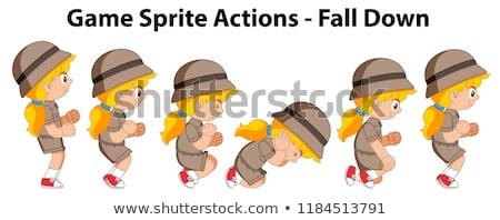 Game sprite actions fall down girl Stock photo © bluering
