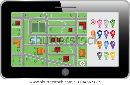 Map location pin on background of city landscape of downtown Stock photo © ussr