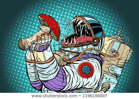 astronaut monster eats fly agaric greed and hunger of mankind c stock photo © studiostoks