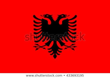 Albânia bandeira branco fundo assinar vermelho Foto stock © butenkow
