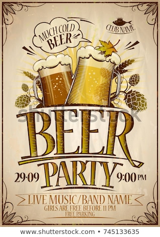 Oktoberfest party poster vector illustration with typography letter, fresh beer, pretzel, sausage an Stock photo © articular