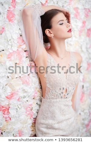 jovem · noiva · posando · branco · luxo - foto stock © acidgrey