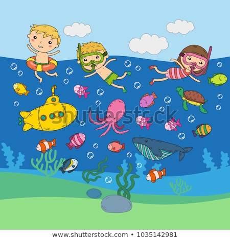 Cartoon тварь Подводное плавание иллюстрация рыбы маске Сток-фото © cthoman