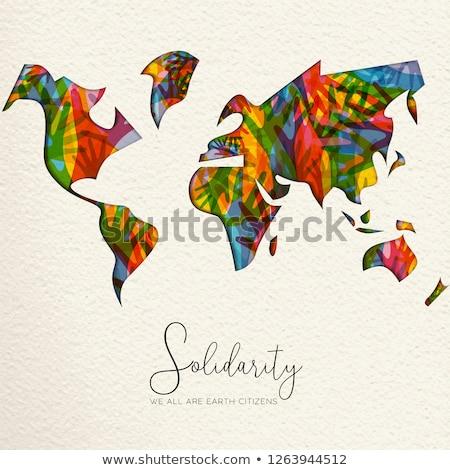 Human Solidarity Day diverse world map hand card Stock photo © cienpies