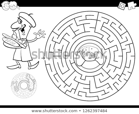 cartoon maze game with baker and croissant Stock photo © izakowski