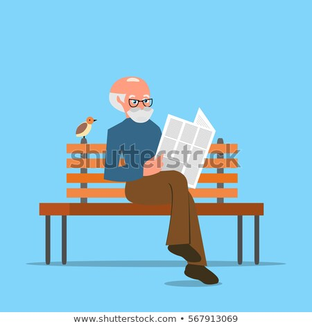 old elderly man reading newspaper in park vector stock photo © robuart