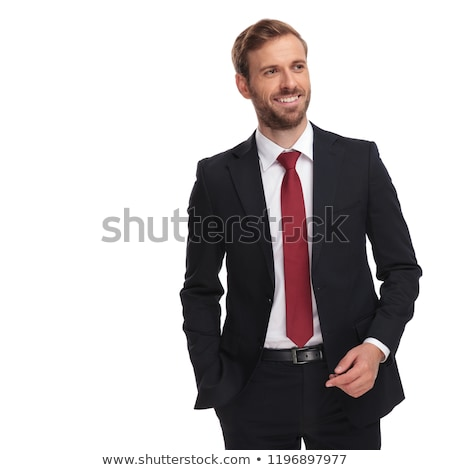 portrait of relaxed businessman in navy suit looking to side Stock photo © feedough