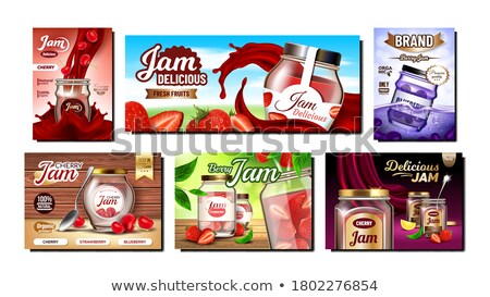 Canned Strawberries and Blueberries in Jar Banners Stock photo © robuart