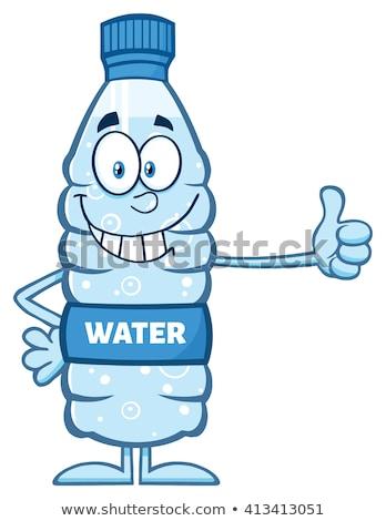 víz · műanyag · üveg · rajzfilm · kabala · karakter · tart - stock fotó © hittoon