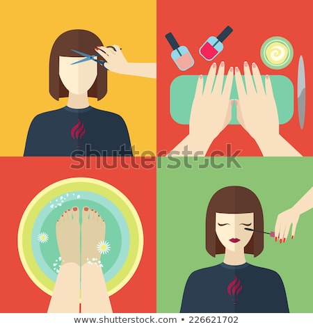 Pedicure and Manicure Treatment Procedure Vector Stock photo © robuart