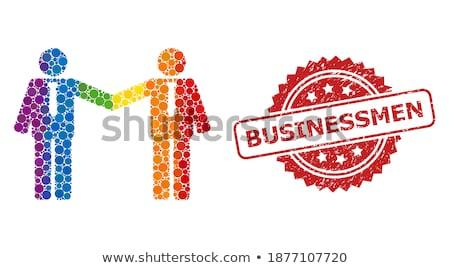fegyveres · üzletember · sziluett · fekete · eps · 10 - stock fotó © smoki