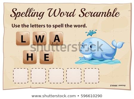 Helyesírás szó játék bálna illusztráció iskola Stock fotó © colematt