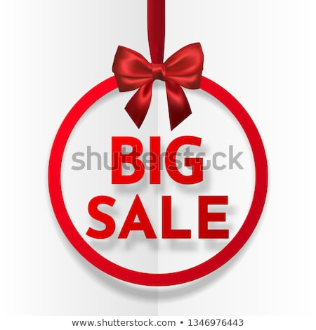 Big sale. Bright holiday round frame banner hanging with red ribbon and silky bow on white backgroun Stock photo © olehsvetiukha