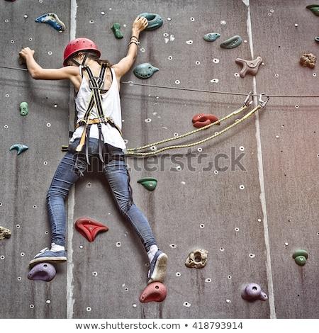 Szabad lány illusztráció fal természet hegy Stock fotó © adrenalina