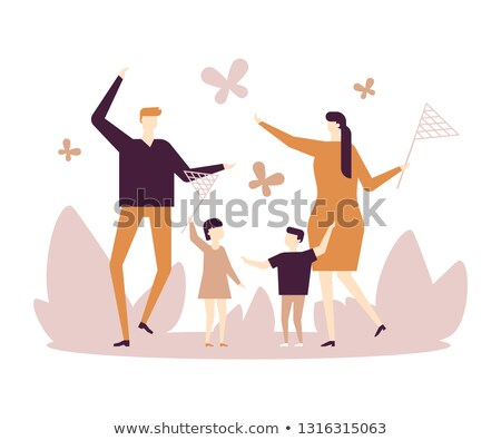 Stock photo: Family catching butterflies - flat design style illustration