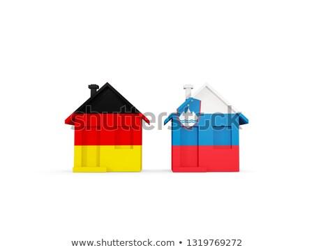 Kettő házak zászlók Németország Szlovénia izolált Stock fotó © MikhailMishchenko