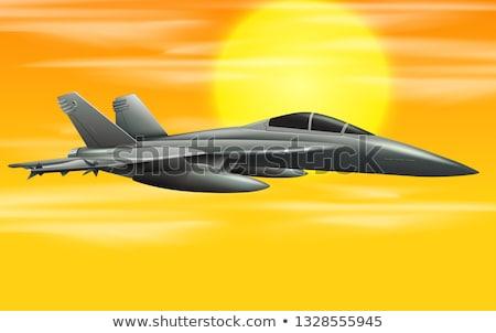 Bombero Jet puesta de sol escena ilustración cielo Foto stock © bluering