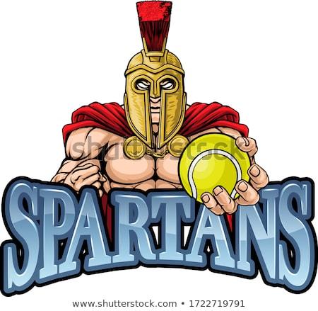 Spartaans trojaans tennis sport mascotte krijger Stockfoto © Krisdog