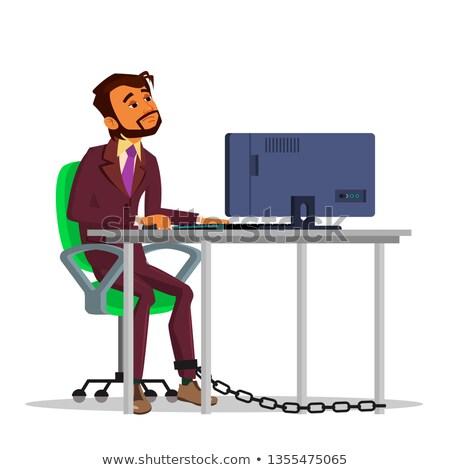 Indiai üzletember dolgozik laptop asztal vektor Stock fotó © pikepicture