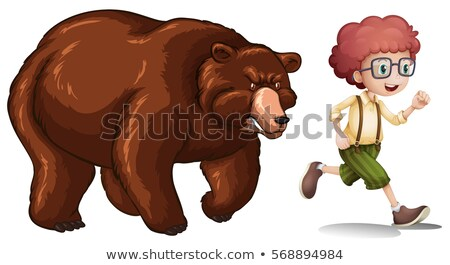 Brown bear chasing little boy Stock photo © colematt