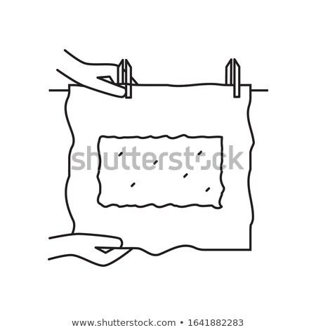 Vel papier waslijn ingesteld grafische communie Stockfoto © g215