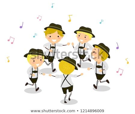 Stickman Kids Boys Schuhplattler Dance Stock photo © lenm
