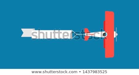 Repülőgép repülőgép húz szalag rajz illusztráció Stock fotó © Krisdog