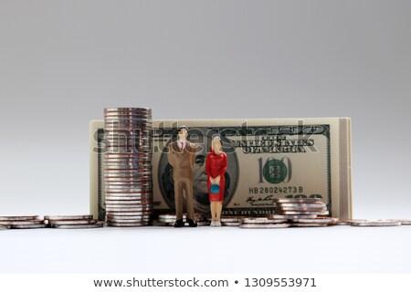 Miniatűr nő férfi dollár érmék közelkép Stock fotó © nito