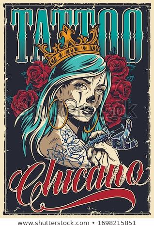 Atraente menina tatuagem ombros mãos monte Foto stock © artjazz