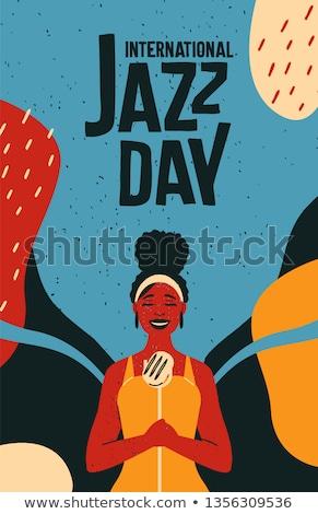 Internacional jazz día retro anunciante mujer Foto stock © cienpies