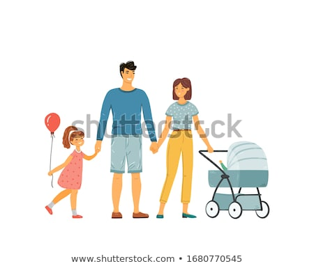 happy mother and child with colorful balloons walking together on beach near sea stock photo © elenabatkova