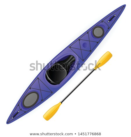 Kayak and paddle - modern rafting canoe top and side view Stock photo © Winner