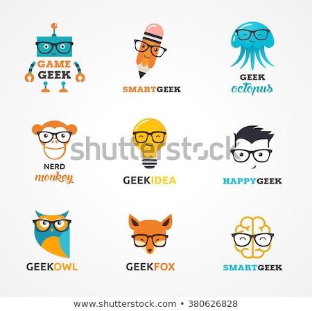 Geek NERD Smart иконки животные Сток-фото © marish