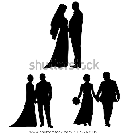 Bride Silhouette with Wedding Bouquet Stock photo © Krisdog