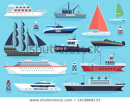 water transport cruise liners yacht set vector foto stock © robuart