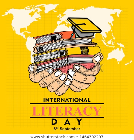 Happy Literacy Day Sketch with Pencil Text Vector Stock photo © robuart
